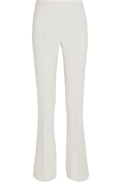 Wool-Blend Crepe Flared Pants, White