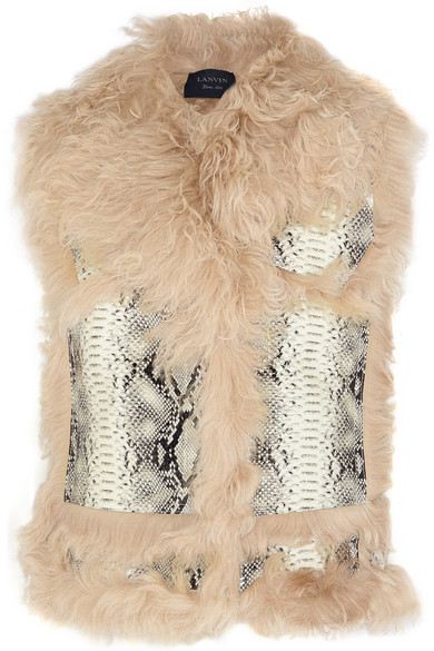 Shearling And Snake-Effect Leather Vest in Neutrals