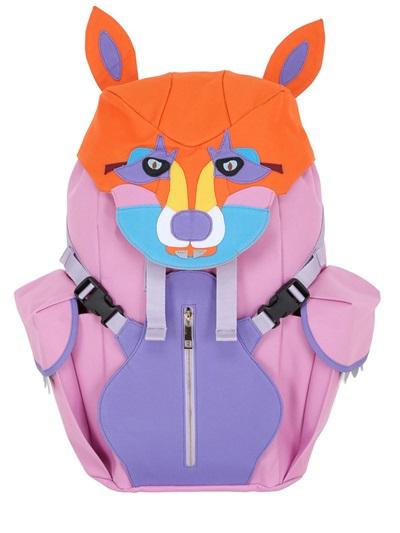 YANG DU Fox Patchwork Nylon Backpack, Pink/Multi
