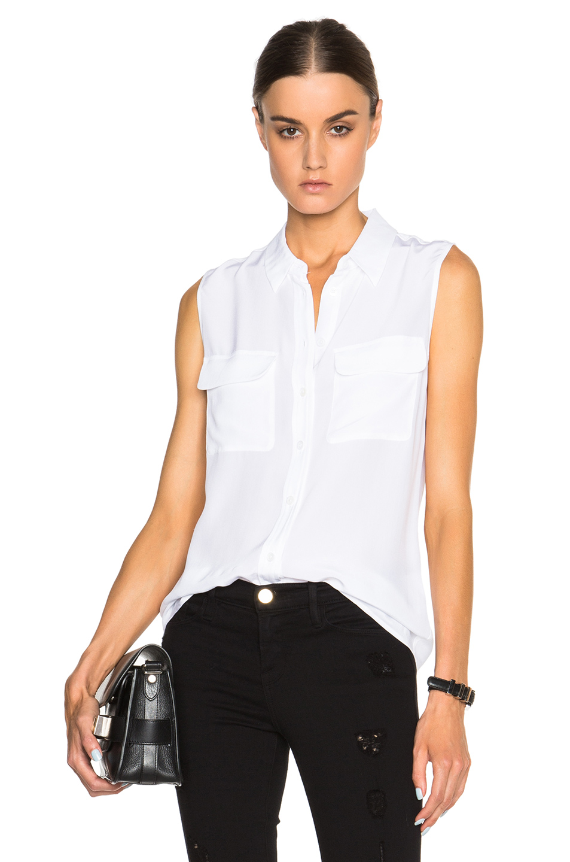 Slim Signature Sleeveless Blouse, Bright White, Peacoat