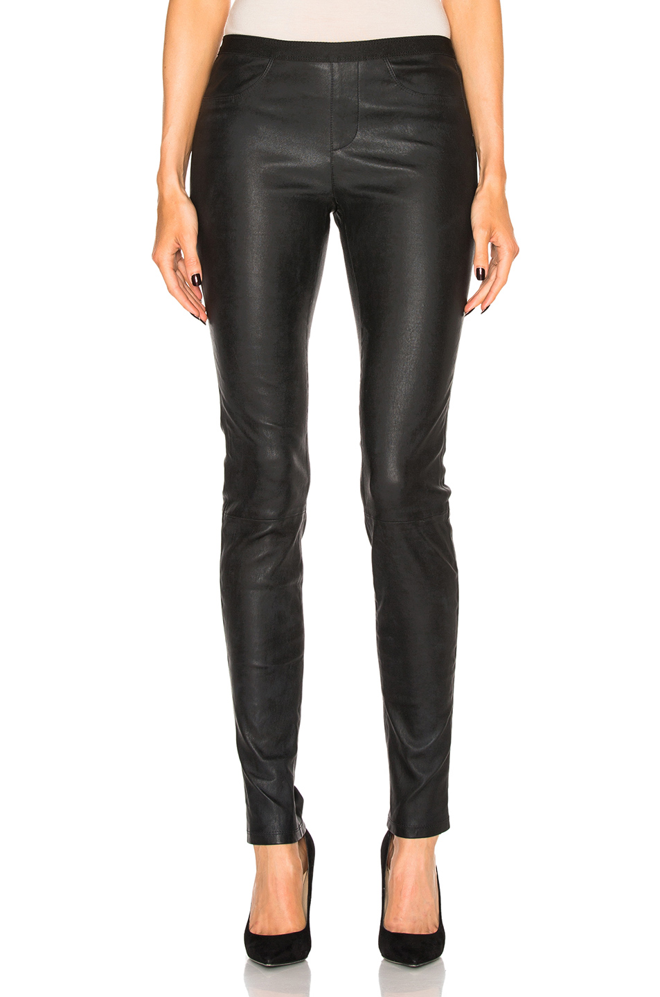 Stretch Lambskin Leather Leggings, Black