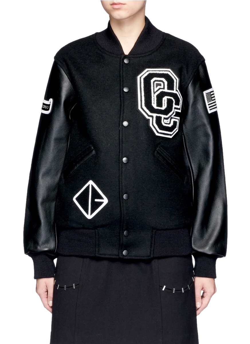 Appliquéd Wool-Blend Twill And Textured-Leather Bomber Jacket in Black