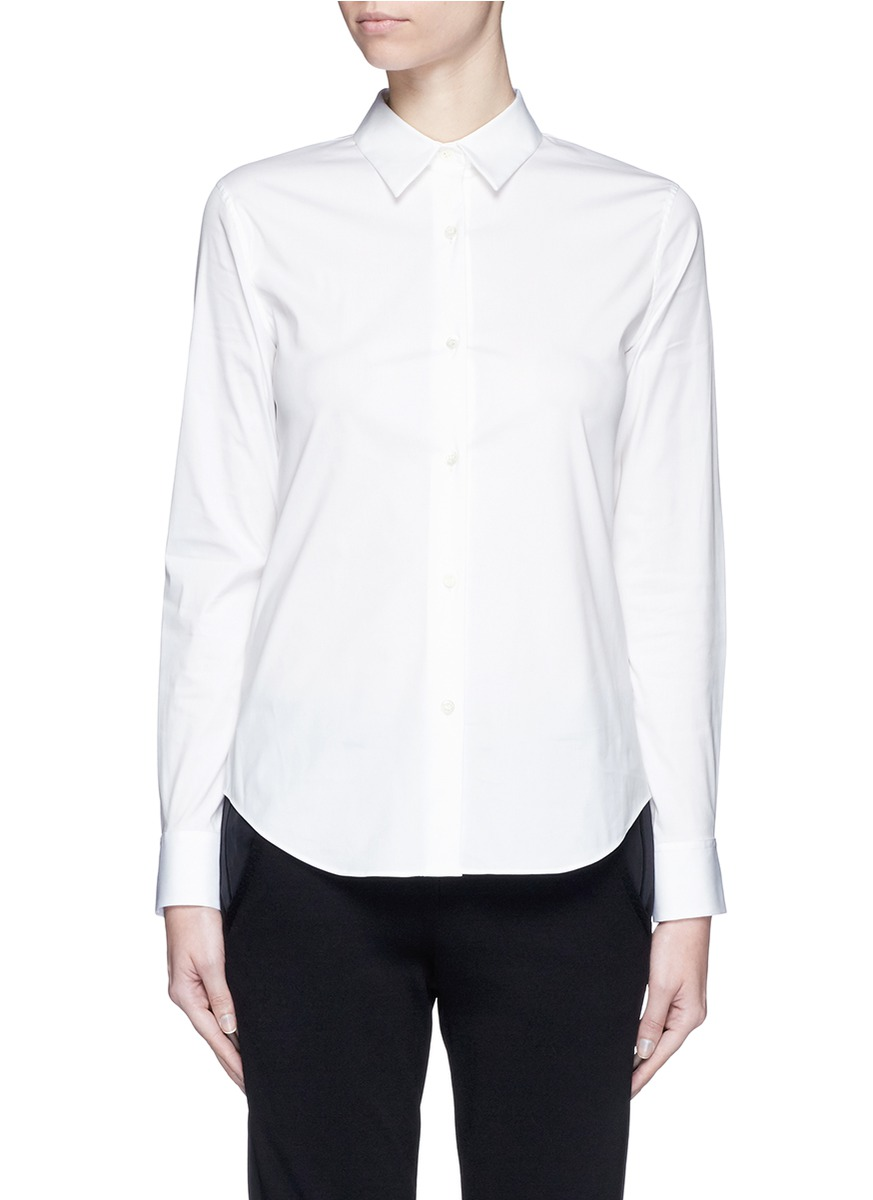 'Narthus' Slim Fit Cotton Poplin Shirt in White