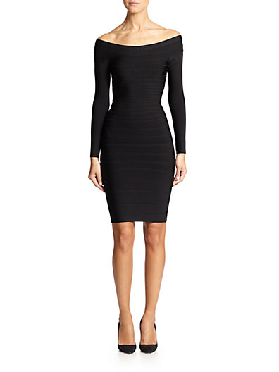 HERVE LEGER Off-The-Shoulder Long-Sleeve Bandage Dress in Black