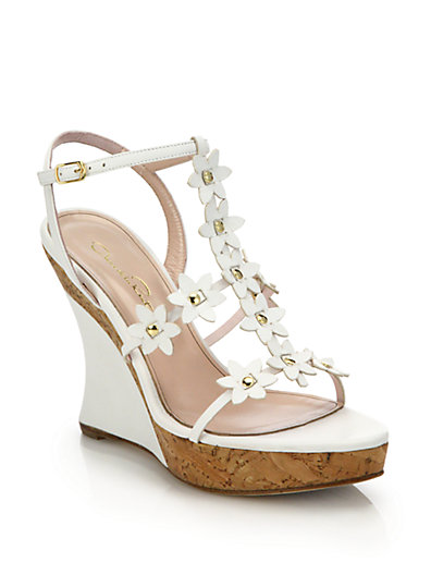 Oscar de la Renta Laser Cut Platform Wedges sale websites B5RYkd