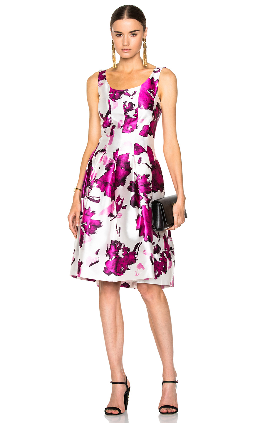 OSCAR DE LA RENTA Watercolor Floral-Print Mikado Cocktail Dress, Magenta