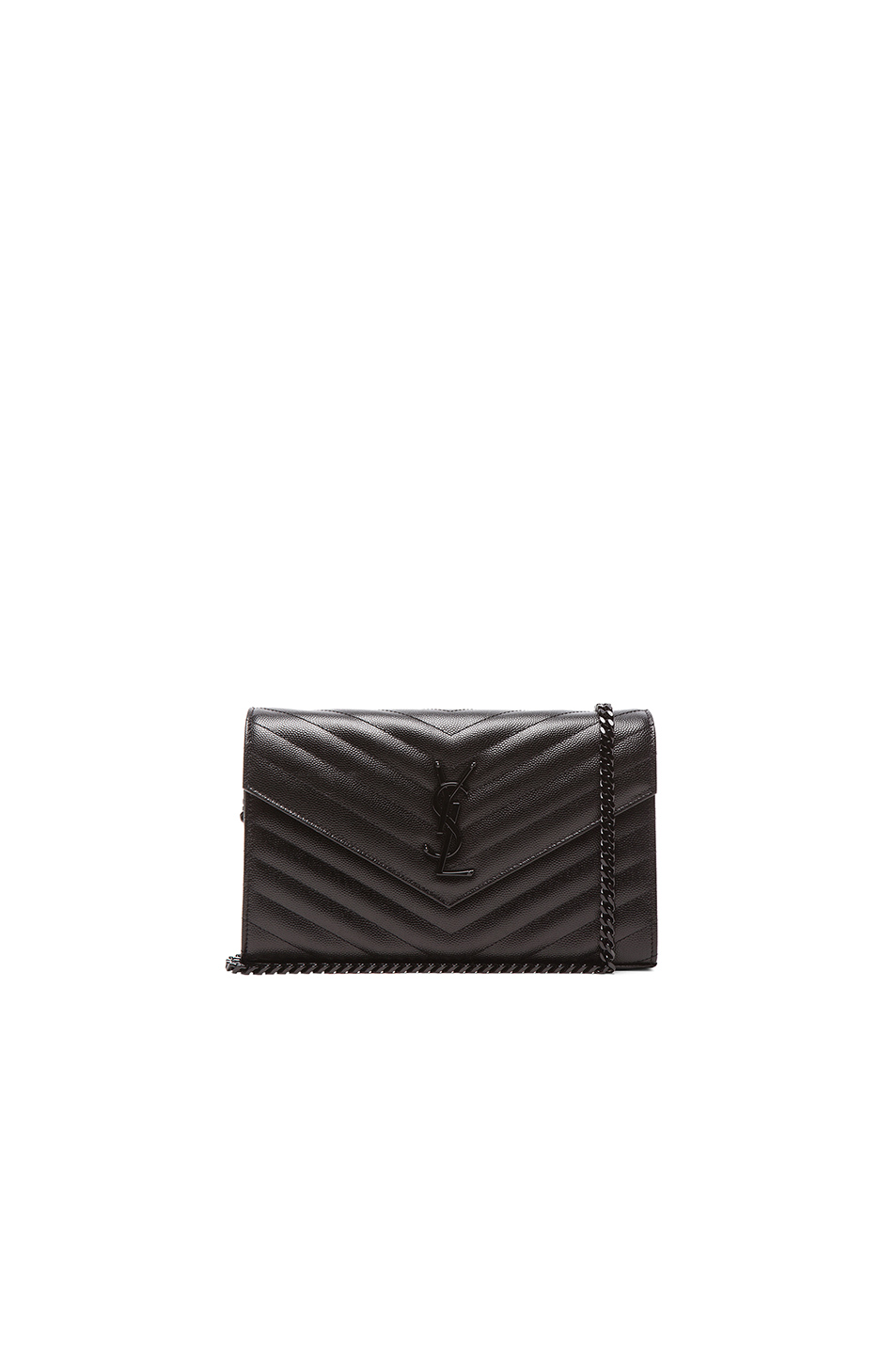 Monogram Ysl Small Matelasse Envelope Chain Wallet, Black, Black & Black