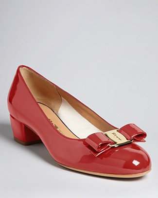 Vara 1 Patent Bow Pumps, Red (Rosso), Rosso/Gold