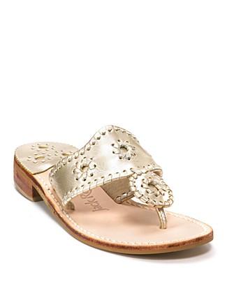 Palm Beach Whipstitch Thong Sandal, Platinum