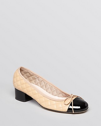PAUL MAYER Women'S Titou Quilted Leather Cap Toe Block Heel Pumps in Black/Beige