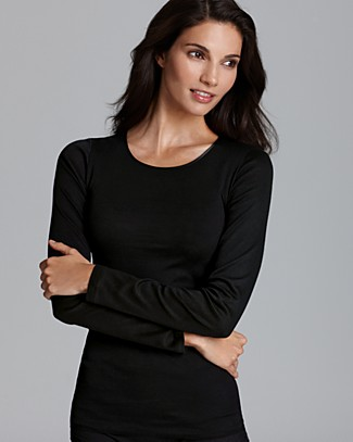 Cotton Seamless Long Sleeve Top in Black