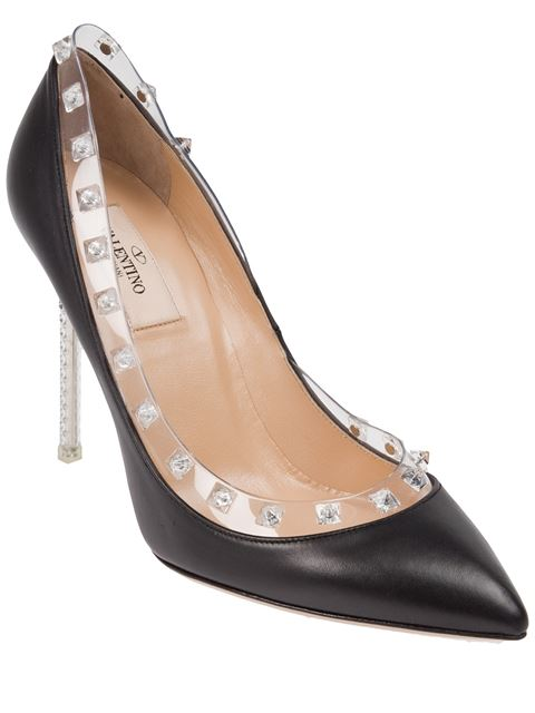Rockstud Leather 100Mm Pump, Powder (Poudre) in Black