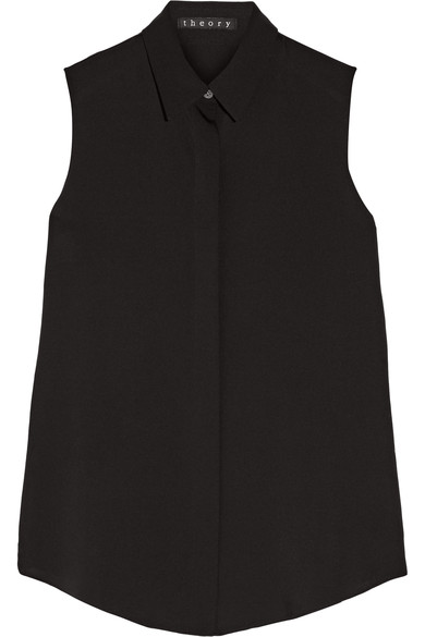 Tanelis Sleeveless Silk Blouse in Black from Theory