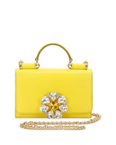 DOLCE & GABBANA Miss Sicily Medium Lizard-Stamped Satchel Bag, Yellow