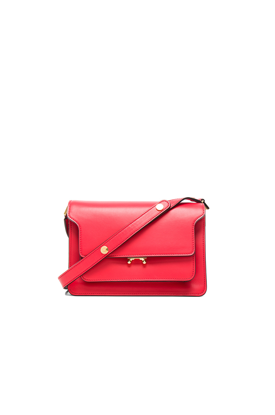 Trunk Medium Red Leather Shoulder Bag