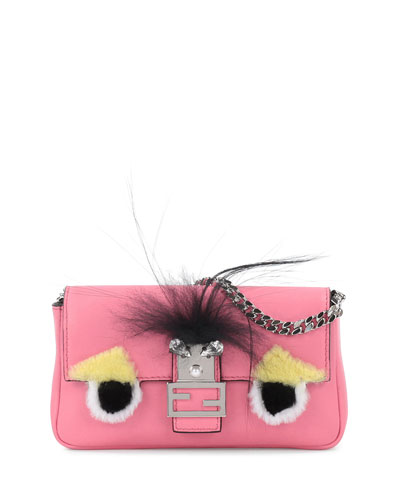 'Monster' Genuine Rabbit Fur & Genuine Fox Fur Micro Baguette - Pink, Fluo Piek