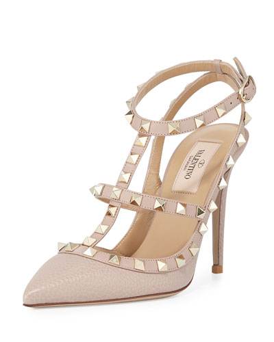 Rockstud Leather 100Mm Pump, Powder (Poudre) in Nude