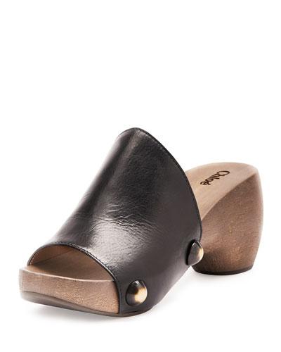 Izzi Horn-Rivet Leather Clogs, Black