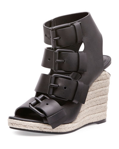 Jo Buckled Espadrille Wedge Sandal, Black