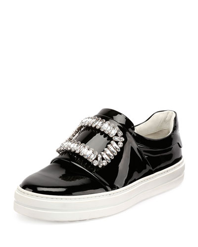 Sneaky Viv Embellished Patent Leather Skate Sneakers, Black