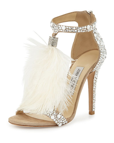 15eb5a2e0 ... JIMMY CHOO VIOLA 110 WHITE SUEDE AND HOT FIX CRYSTAL EMBELLISHED  SANDALS WITH AN OSTRICH FEATHER ...