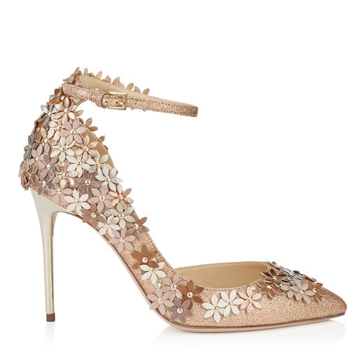 JIMMY CHOO Lorelai 100 Nude Fine Glitter Fabric Pumps With Champagne Flower Mix Embellishment in Nude/Champagne Mix