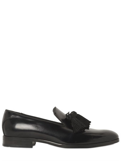 Foxley Black Patent Leather Tasselled Slippers