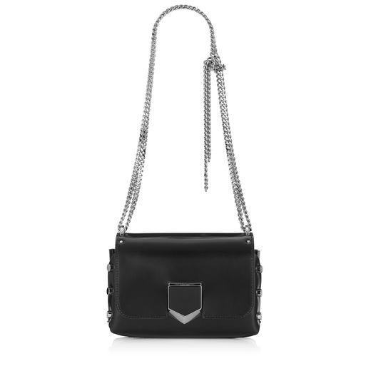 Lockett Petite Black And Chrome Spazzolato Leather Shoulder Bag, Black/Chrome