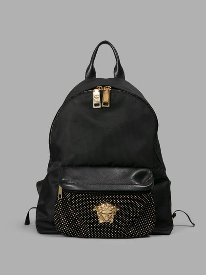 Swarovski Studded Medusa Backpack in Black / Gold