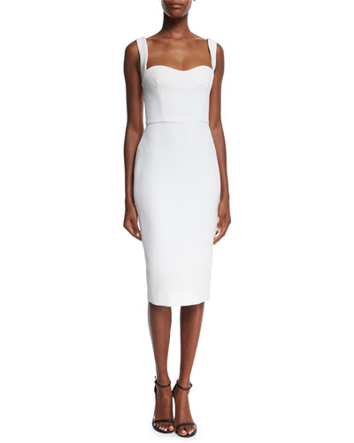 Sweetheart-Neck Sleeveless Fitted Dress With Tonal Sequins, White