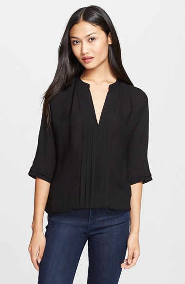 11338aebd5eb0 JOIE MARRU PINTUCK-FRONT SILK BLOUSE