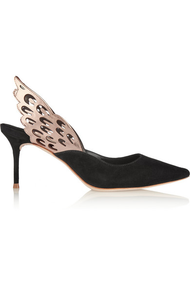 Angelo Cutout Metallic-Trimmed Leather And Suede Slingback Pumps, Black