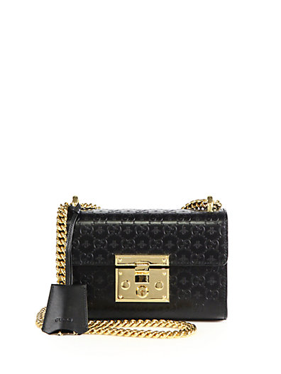 Small Padlock Signature Leather Shoulder Bag - Black, Black-Gold