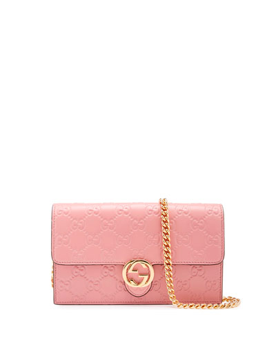 2cfd7b6084f Gucci Icon Signature Chain Wallet In Soft Pink