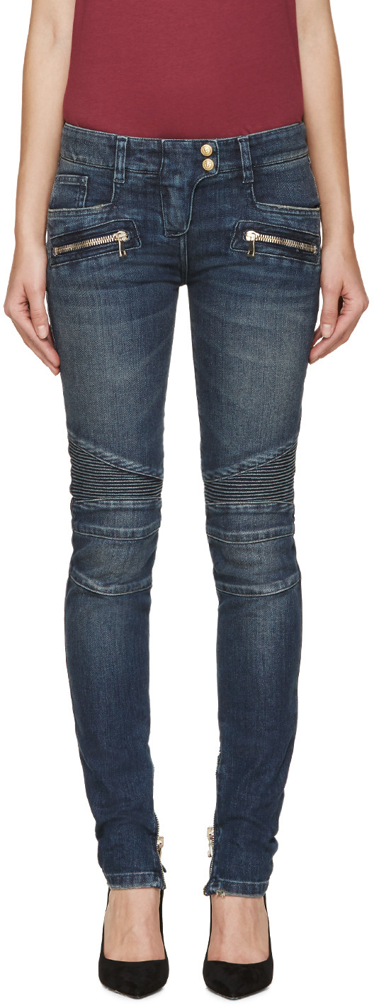 Blue Washed Biker Jeans