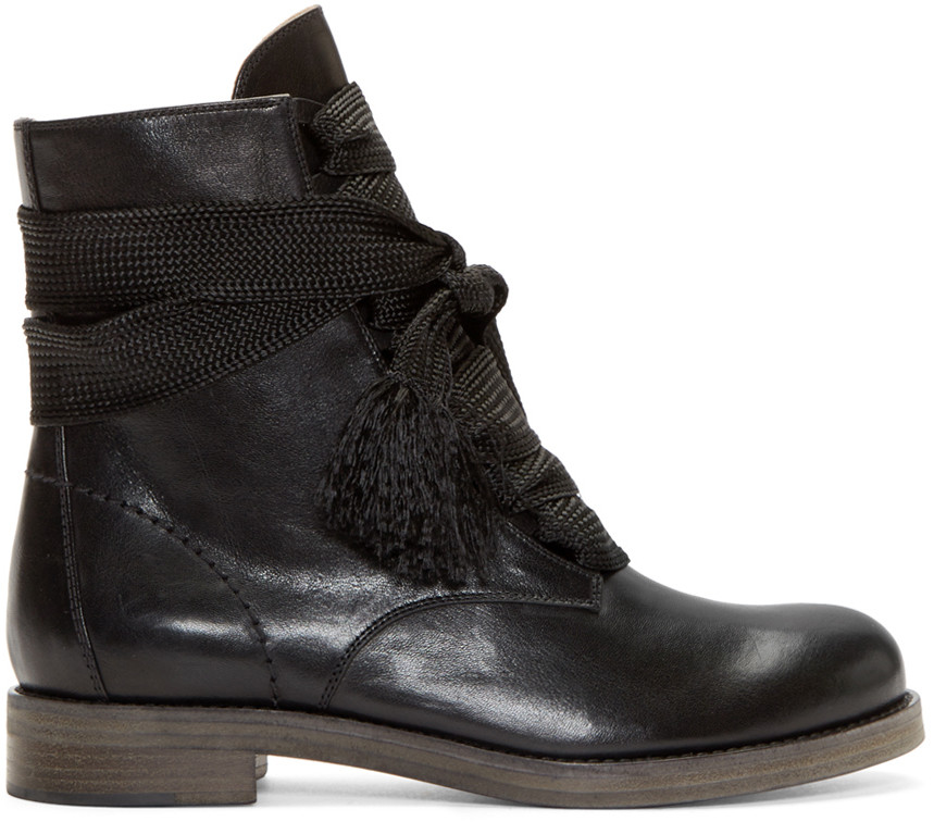 Chloé Lace-Up Ankle Boots
