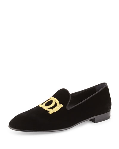 SALVATORE FERRAGAMO Manhattan Velvet Loafer With Gancini Embroidery, Black