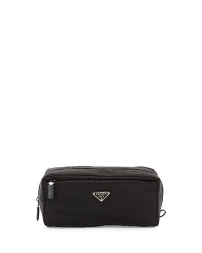 Nylon & Saffiano Leather Toiletry Case, Black