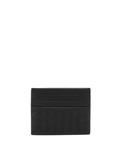 BOTTEGA VENETA Intrecciato Leather Zip-Top Cardholder, Nero