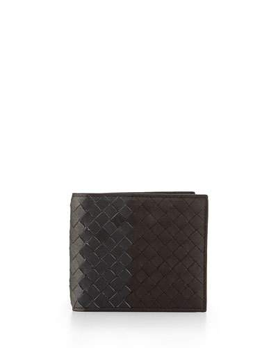 BOTTEGA VENETA Intrecciato Bi-Fold Leather Wallet, Brown
