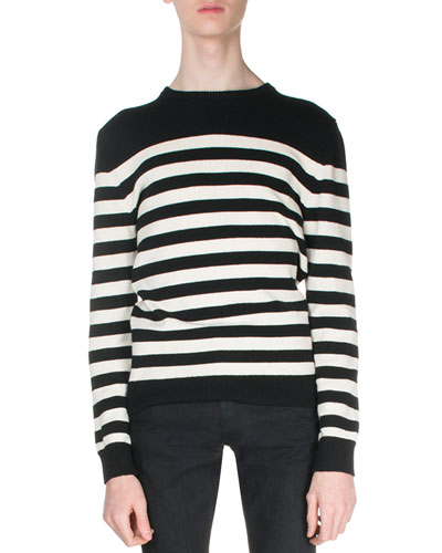 Classic Marinière Sweater In Navy Blue And Ivory Striped Cashmere, Black/White