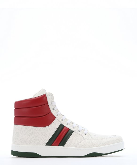 ffcef598a GUCCI WHITE AND RED PADDED LEATHER CONTRAST HIGH-TOP SNEAKERS