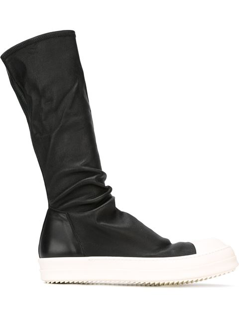 Stretch-Leather Sock Sneakers, Black