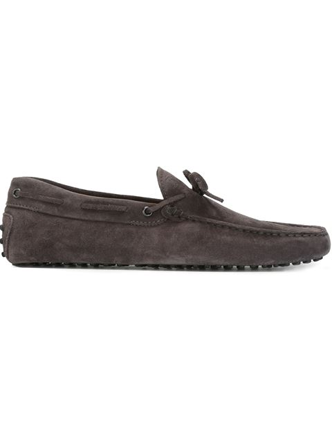 TOD'S Gommino 122 Suede Driving Shoes, Black, Grey