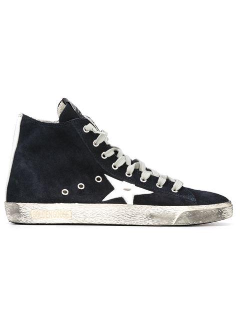 GOLDEN GOOSE Navy Suede Superstar High-Top Sneakers, Blue