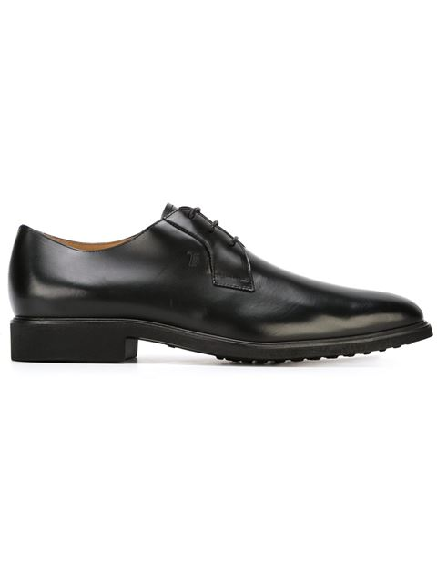 TOD'S Black Leather Derby Shoes