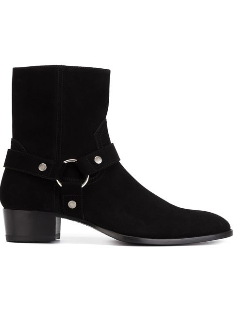 Classic Wyatt 40 Harness Boot In Black Waxed Suede