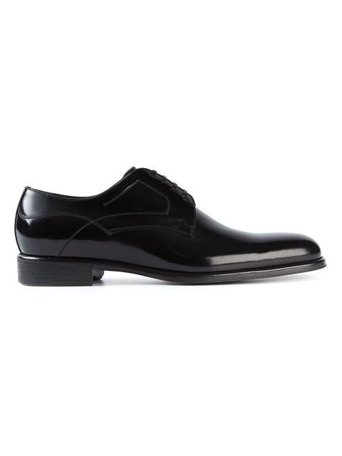 Dolce E Gabbana Men'S  Black Leather Lace-Up Shoes