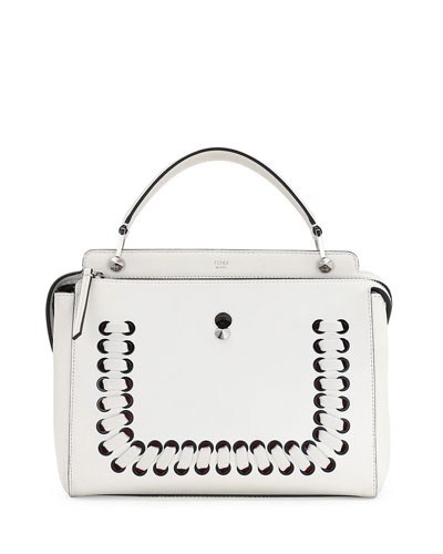 Dotcom Medium Whipstitch Satchel Bag, White