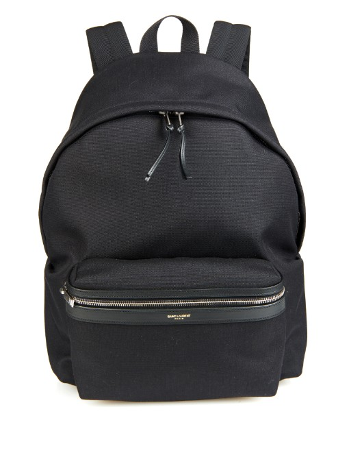 SAINT LAURENT Canvas And Leather Trim Backpack - Black